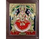 Lakshmi Tanjore Painting Embedded with AD Stones