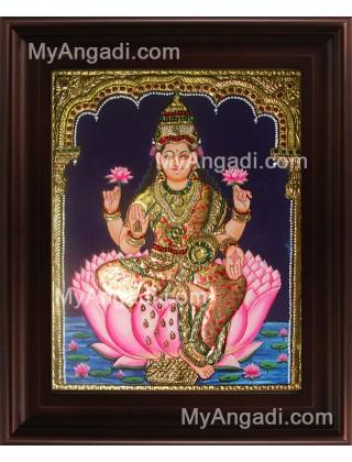 Lotus Dhana Lakshmi Tanjore Painting, Dhanalakshmi Tanjore Painting
