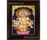 Lotus Ganesha Tanjore Painting, Ganesha Tanjore Painting