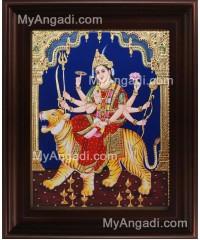 Mahishasura Mardhini Tanjore Painting, Amman Tanjore Painting