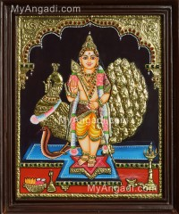 Murugan with Peacock Tanjore Painting