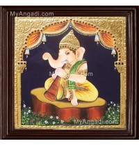 Nava Vinayakar Playing Music Tanjore Painting