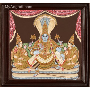 Ranganathar with Sridevi and Poodevi Tanjore Painting