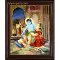 Krishna with Yasotha Tanjore Painting
