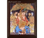 Krishna Playing Flute Tanjore Painting