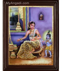 Krishna with Yasotha with Butter Pot Tanjore Painting