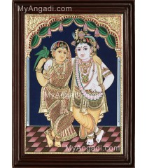 Krishna with Rukmani Tanjore Painting