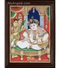 Krishna with Nanda Maharaja and Yasotha Tanjore Painting
