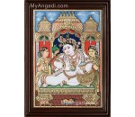 Krishna with Bama and Rukmani Tanjore Painting