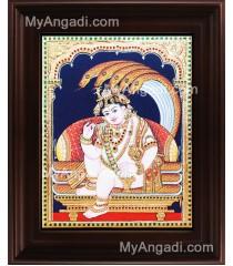 Naga Krishna Tanjore Painting, Krishna Tanjore Painting