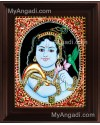 Oval Parrot Krishna Tanjore Painting, Krishna Tanjore Painting