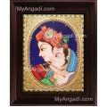 Oval Radha Krishna Tanjore Painting, Krishna Tanjore Painting