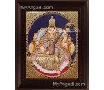 Oval Saraswathi Tanjore Painting, Traditional Saraswathi Tanjore Painting