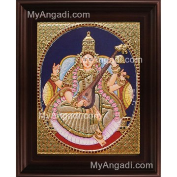 Oval Saraswathi Tanjore Painting, Traditional Saraswathi Tanjore Painting