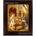 Palace Krishna Fruit Tanjore Painting, Krishna Tanjore Painting