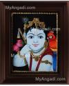 Parrot Krishna Tanjore Painting, Krishna Tanjore Painting