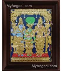 Sivan Paarvathi Thirumanam Tanjore Painting, Girija Kalyanam Tanjore Painting