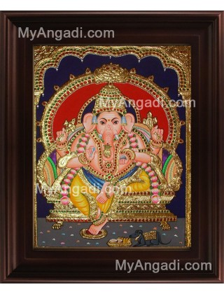 Straight Face Ganesha Tanjore Painting, Ganesha Tanjore Painting