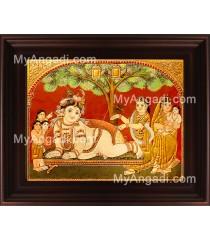 Tree Krishna Tanjore Painting, Krishna Tanjore Painting