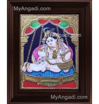 Unjal Krishna Tanjore Painting, Krishna Tanjore Painting