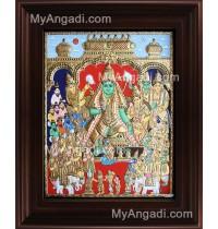 Vishnu Thirumagal Tanjore Painting, Vishnu Lakshmi Tanjore Painting