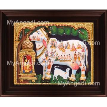 White Kamadhenu Tanjore Painting, Komatha Tanjore Painting