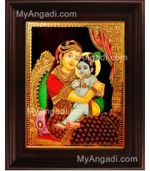 Yasodha Krishna Mother Tanjore Painting, Krishna Tanjore Painting