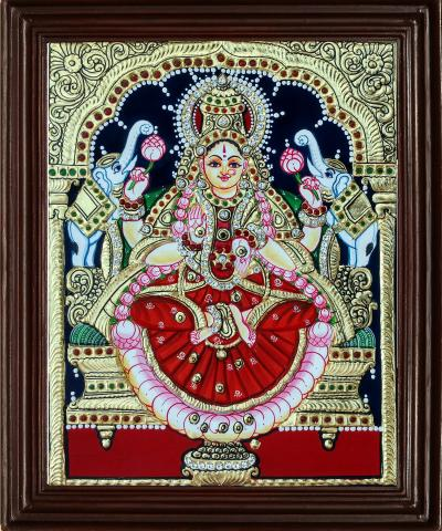 Lakshmi 22 Carat Gold Foil Tanjore Painting with AD stones