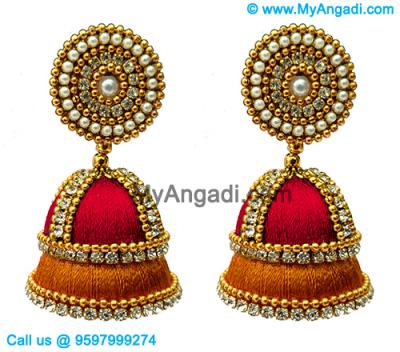 Red Colour - Golden Combination Silk Thread Jhumukka Earrings