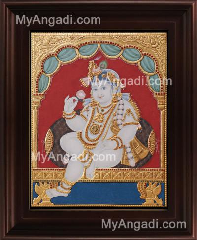 Antique Chair Krishna Tanjore Painting, Krishna Tanjore Painting
